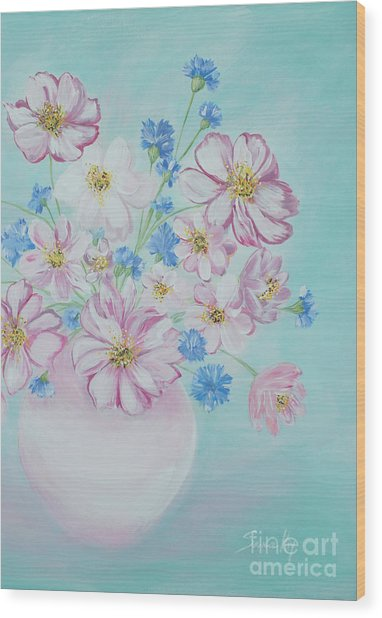 Flowers In A Vase. Inspirations Collection Wood Print