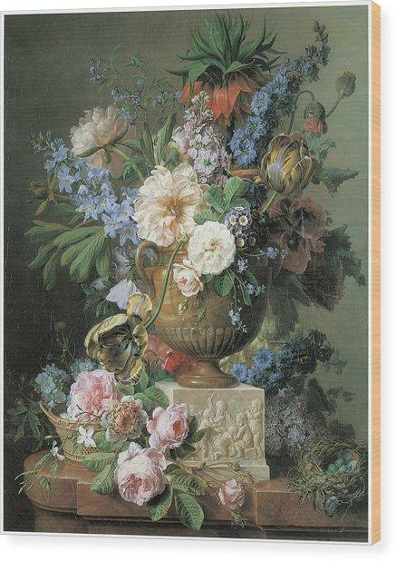 Flowers In An Alabaster Vase Wood Print by Gerard Van Spaendonck