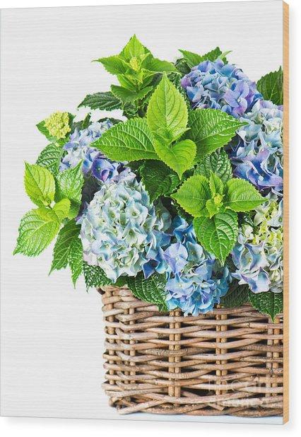 Flowers In Basket Wood Print