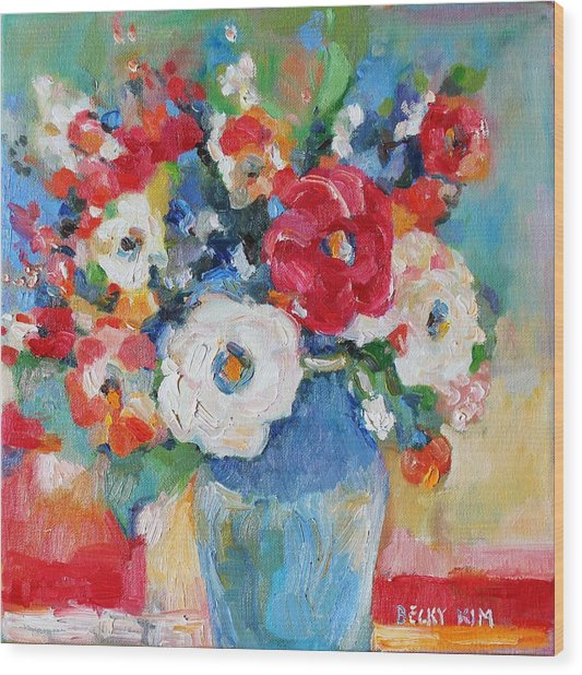 Flowers In Blue Vase 1 Wood Print