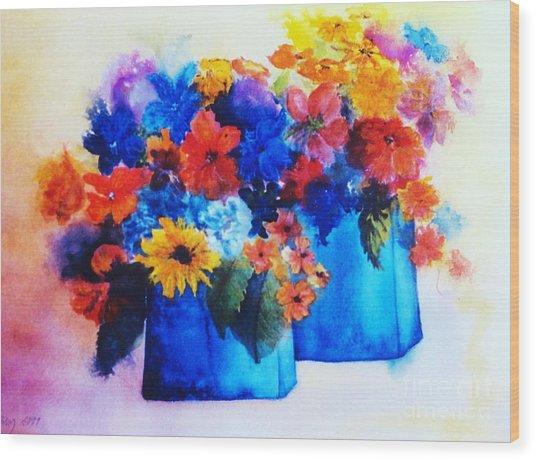 Flowers In Blue Vases Wood Print
