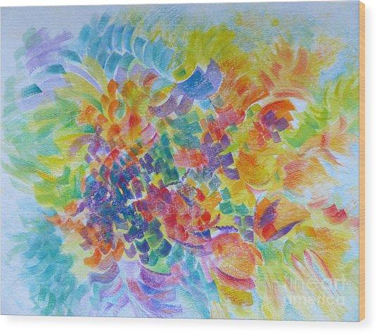 Flowers In Lavender Vase Wood Print