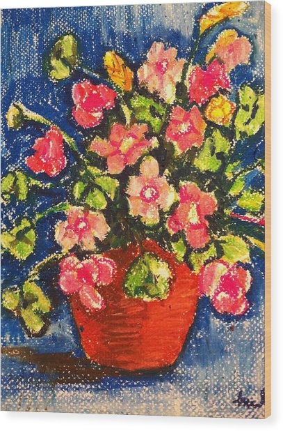 Flowers In Orange Pot Wood Print
