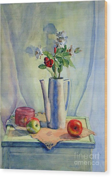 Flowers In Pitcher With Apples Wood Print
