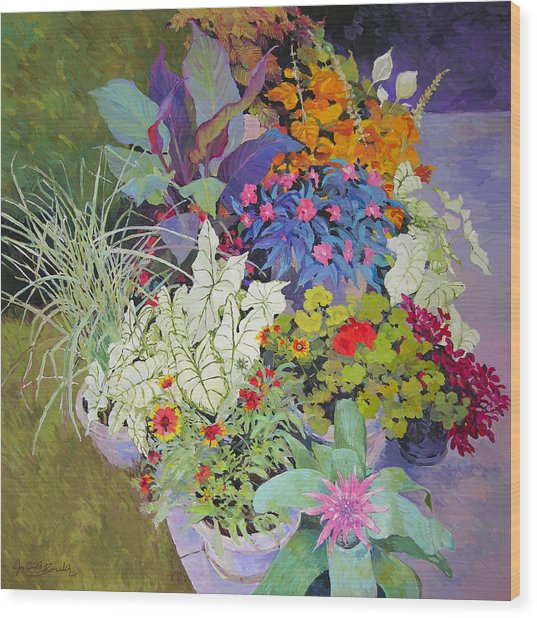 Flowers In The Courtyard Wood Print