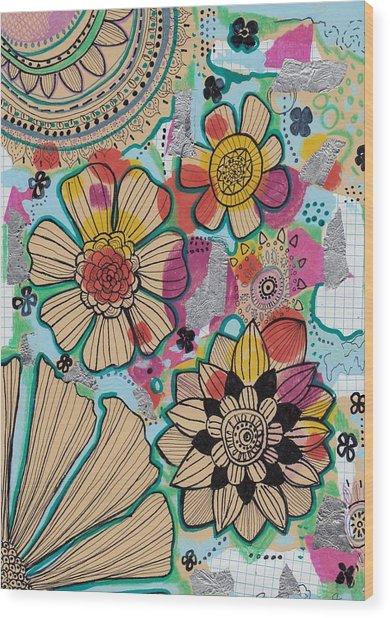 Flowers In The Sky Wood Print