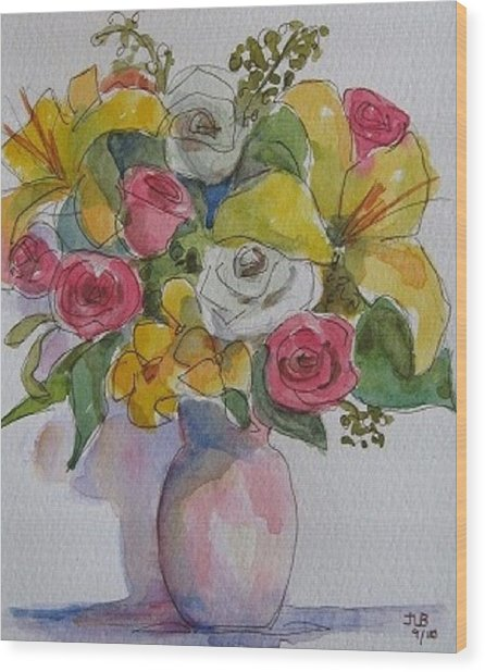 Vase With Flowers  Wood Print by Janet Butler