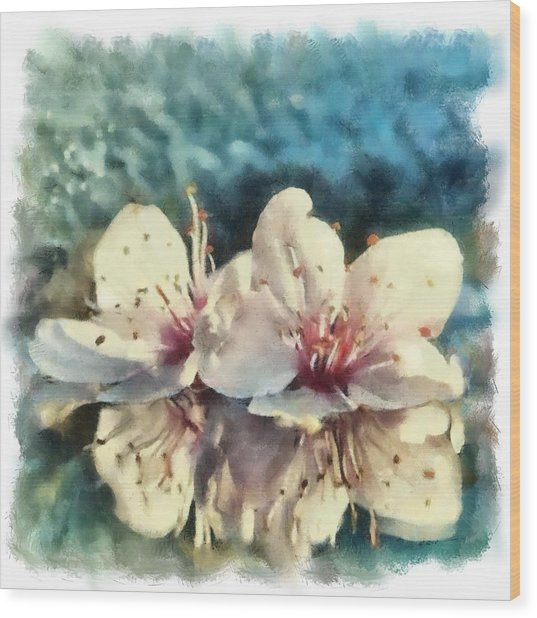 Flowers In Water Wood Print by Desmond De Jager