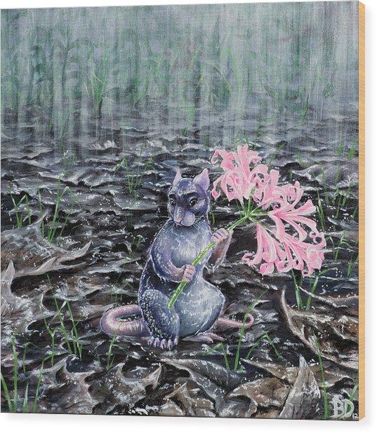Flowers On A Rainy Day Wood Print