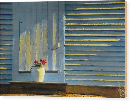 Flowers On The Porch Wood Print