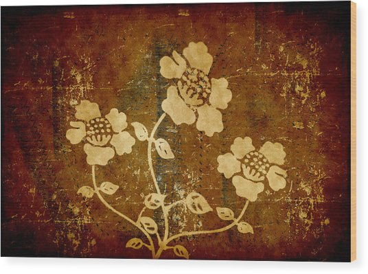 Flowers On The Wall Wood Print