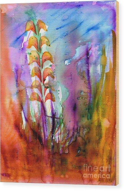 Flowers Orange Wood Print