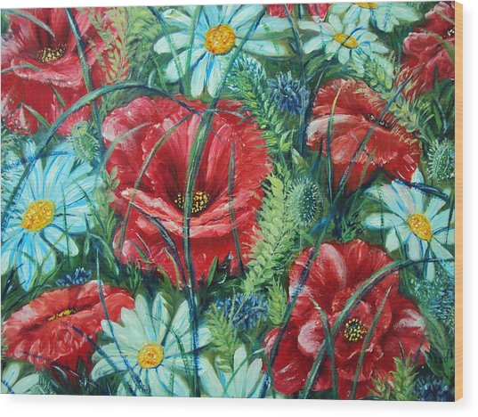 Flowers Poppies And Daisies Wood Print by Drinka Mercep