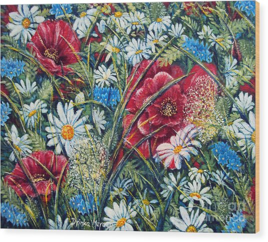 Flowers Poppies And Daisies No.5 Wood Print by Drinka Mercep