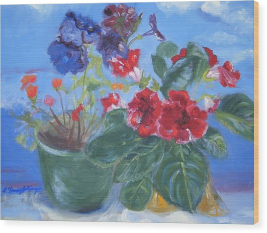 Flowers With The Sky  Wood Print by Patricia Kimsey Bollinger