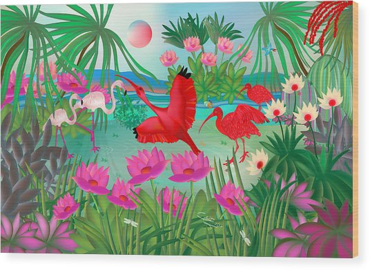 Flowery Lagoon - Limited Edition 1 Of 20 Wood Print