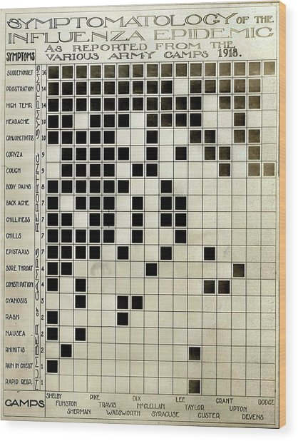 Flu Symptoms Chart Wood Print