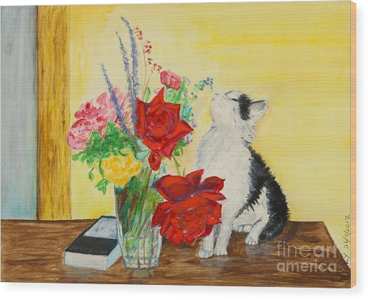 Fluff Smells The Lavender- Painting Wood Print