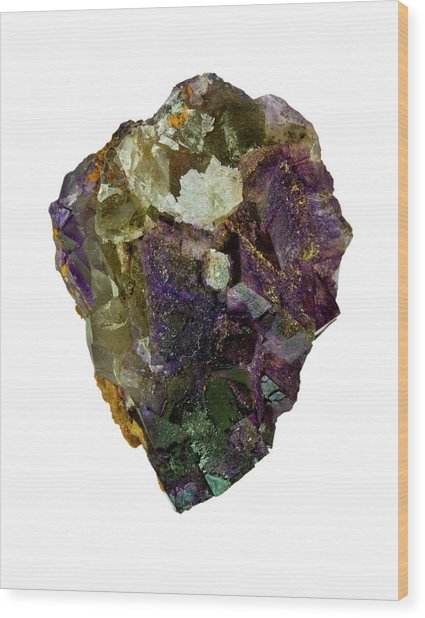 Fluorite Crystal Specimen Wood Print by Natural History Museum, London/science Photo Library