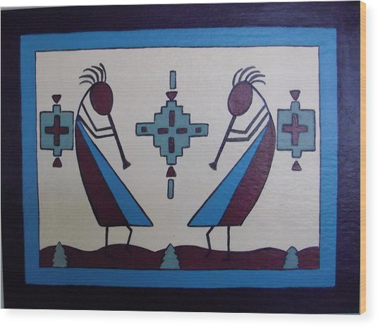 Flute Players Wood Print
