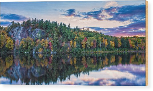 Fly Fishing At Sunset Stonehouse Pond Wood Print
