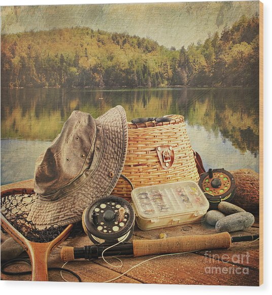 Fly Fishing Equipment  With Vintage Look Wood Print