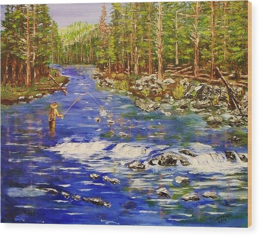 Fly Fishing The Sierras Wood Print