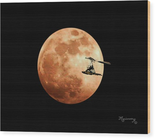 Fly Me To The Moon Wood Print by Mariarosa Rockefeller