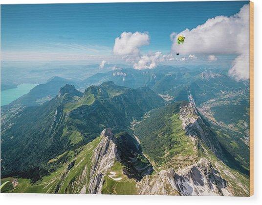 Flying Above La Tournette With Francis Boehm bimbo Wood Print by Tristan Shu