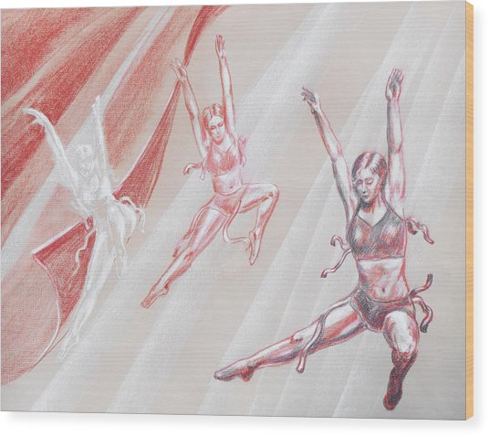 Flying Dancers  Wood Print