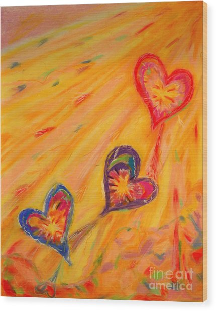 Flying Hearts Wood Print by Kelly Athena