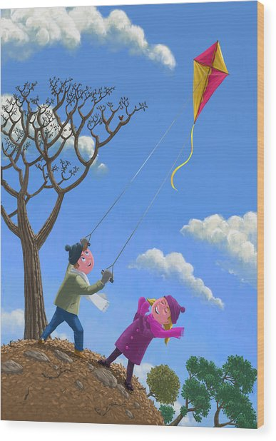 Flying Kite On Windy Day Wood Print