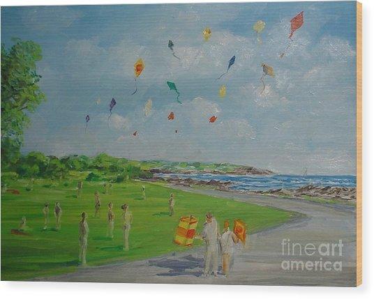 Flying Kites Newport Ri Wood Print