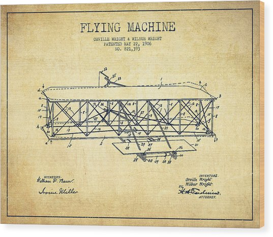 Flying Machine Patent Drawing From 1906 - Vintage Wood Print