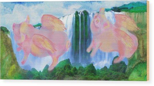 Flying Pigs Wood Print