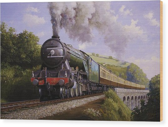 Flying Scotsman On Broadsands Viaduct. Wood Print