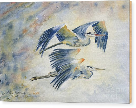 Flying Together Wood Print