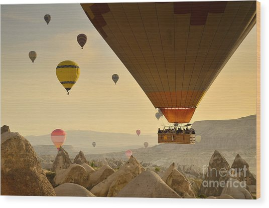 Flying With The Fairies 2 - Cappadocia Turkey Wood Print by OUAP Photography