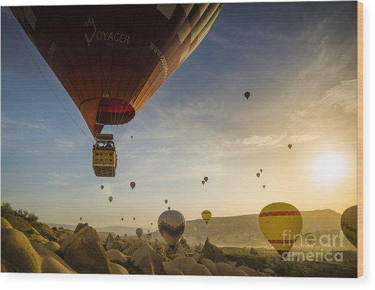 Flying With The Fairies - Cappadocia Turkey Wood Print by OUAP Photography