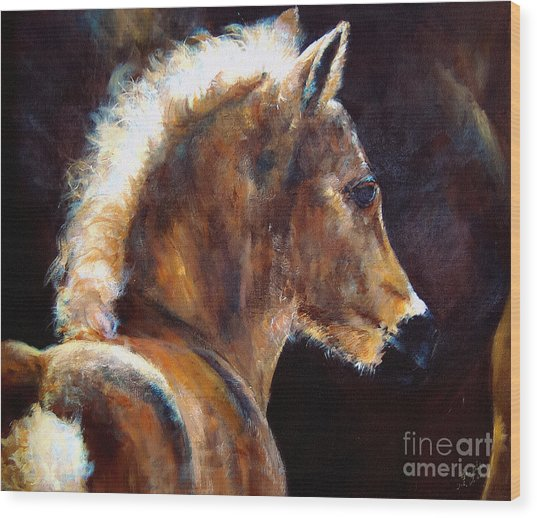 Foal Chestnut Filly Painting Wood Print