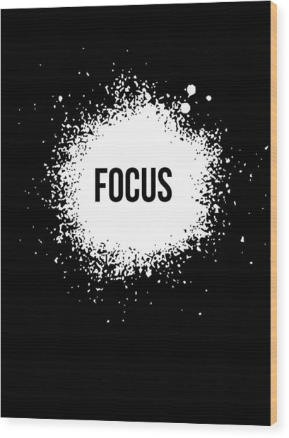Focus Poster Black Wood Print
