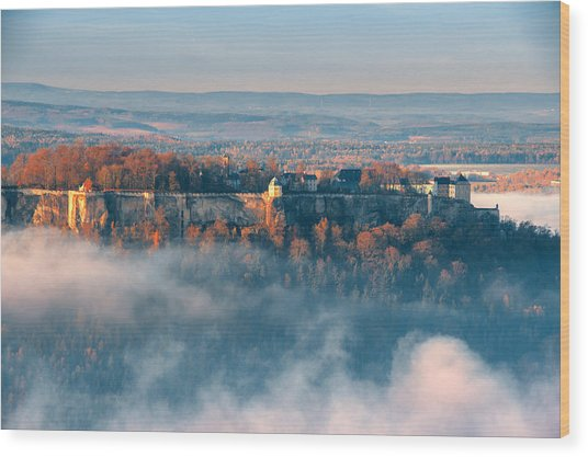 Fog Around The Fortress Koenigstein Wood Print