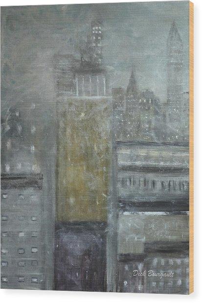 Fog Covered City Wood Print