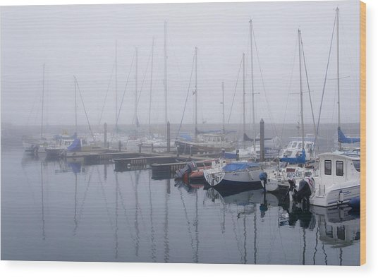 Fog In Marina I Wood Print