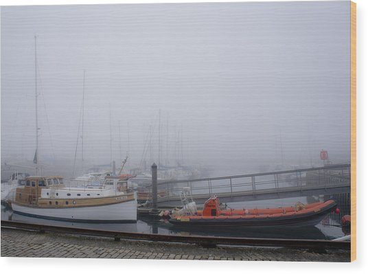 Fog In Marina IIi Wood Print