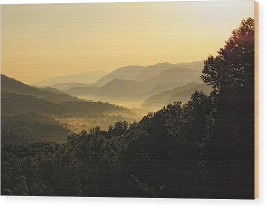Fog In The Valleys Wood Print