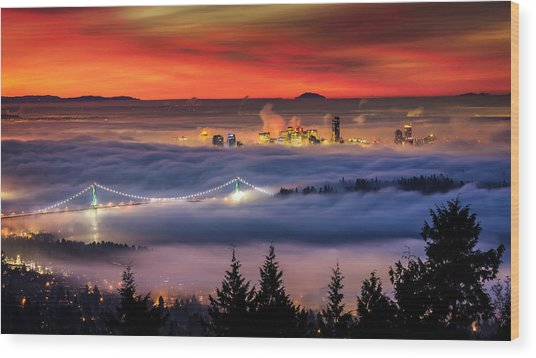 Fog Inversion Over Vancouver Wood Print