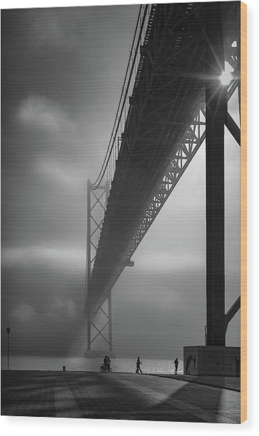 Fog On The Tejo River Wood Print by Fernando Jorge Gon?alves