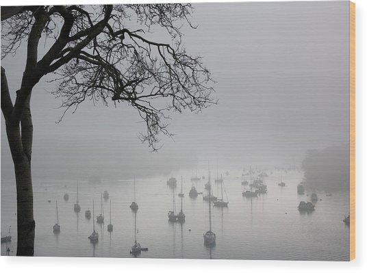 Fog Over Salcombe Estuary Wood Print
