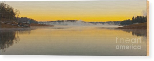 Fog Over The Lake Wood Print
